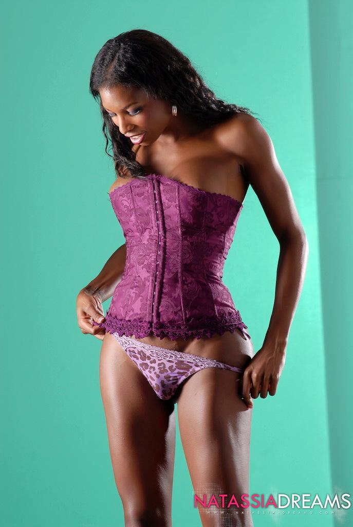 Adorable Ebony Ladyboy Natassia Posing Spicy In Purple