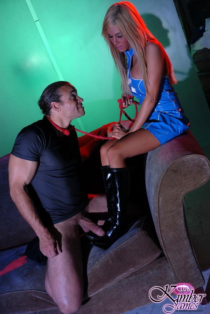 Arousing TS Kimber James Interrogating A Man Hard