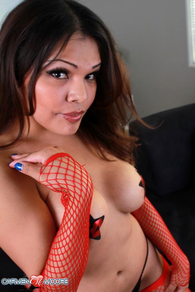 Attractive Carmen Posing In Fishnets