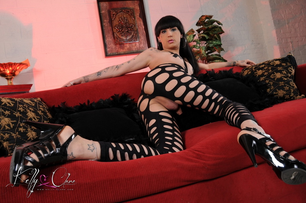 Beautiful Kelly Plays In Net Cat Suit