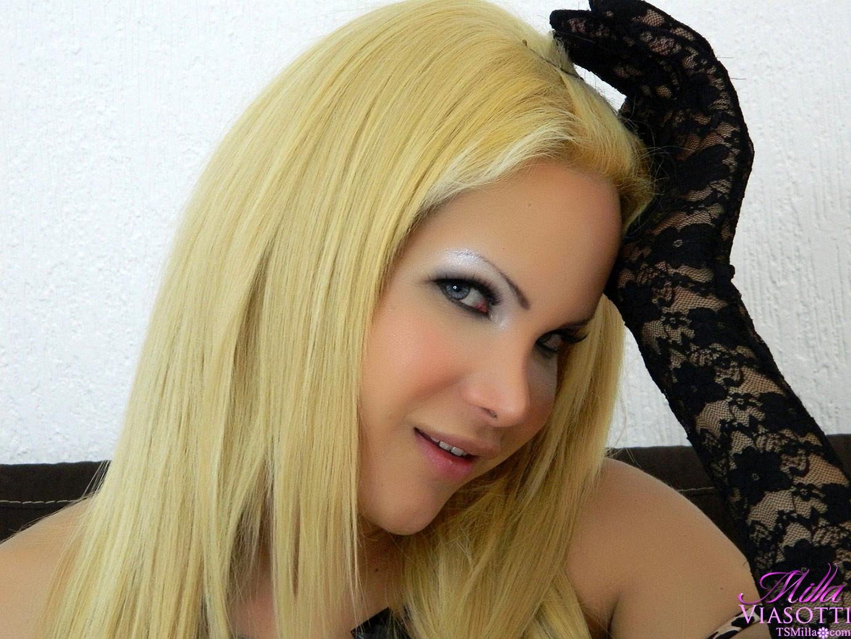 Blonde Ladyboy In Black Panties And Nasty Gloves