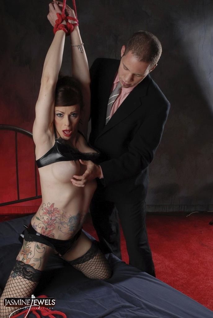 Bondaged Jasmine Jewels Forced To Suck Tool