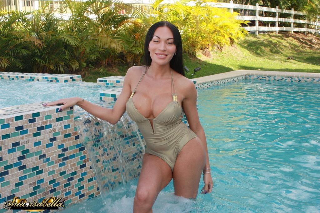 Busty TGirl Mia Isabella Taking A Shower