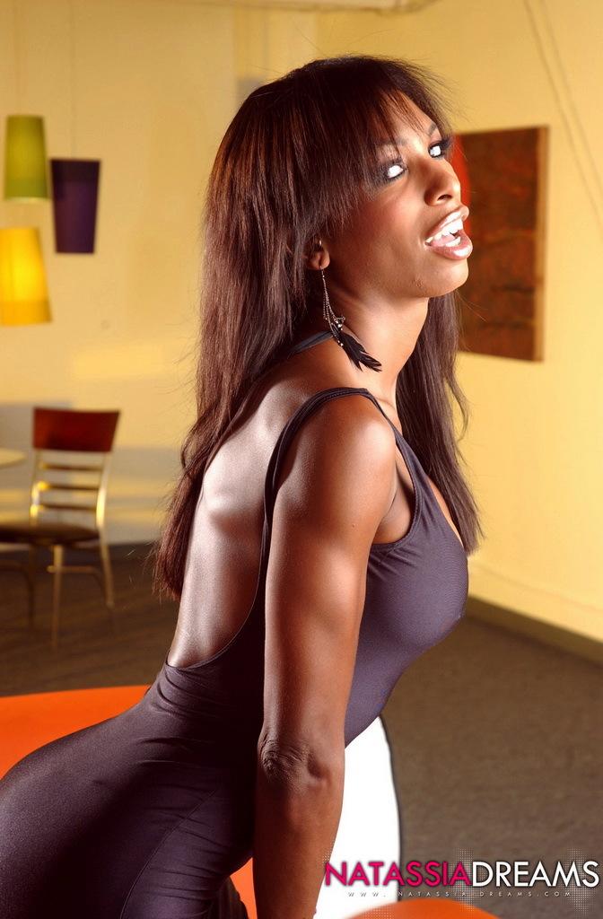 Chocolate Natassia Posing In Her Racy Brown Skirt