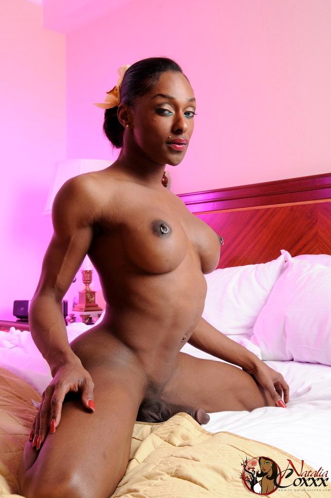 Ebony TS Natalia Coxxx Posing Her Massive Penis