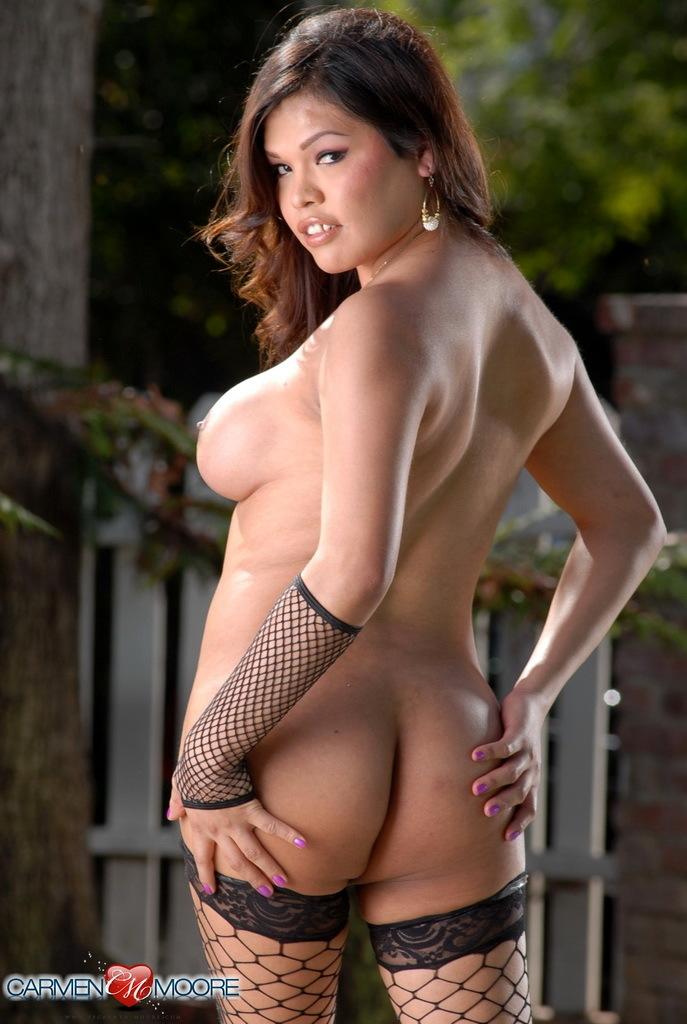 Filthy Carmen Posing Naked In Voluptuous Fishnet Stockings