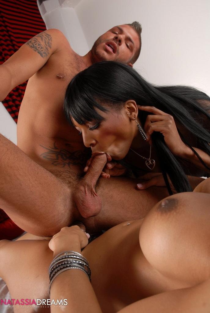 Filthy Ebony Femboy In Flirtatious Three Way