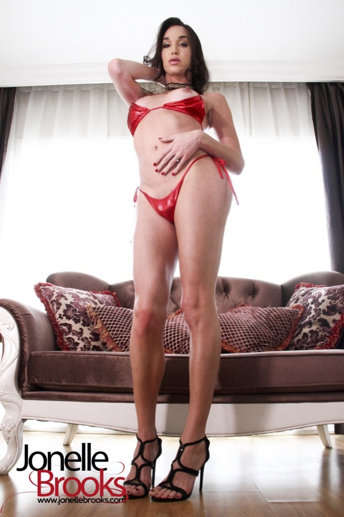 Jonelle Wearing A Inviting Red Bik