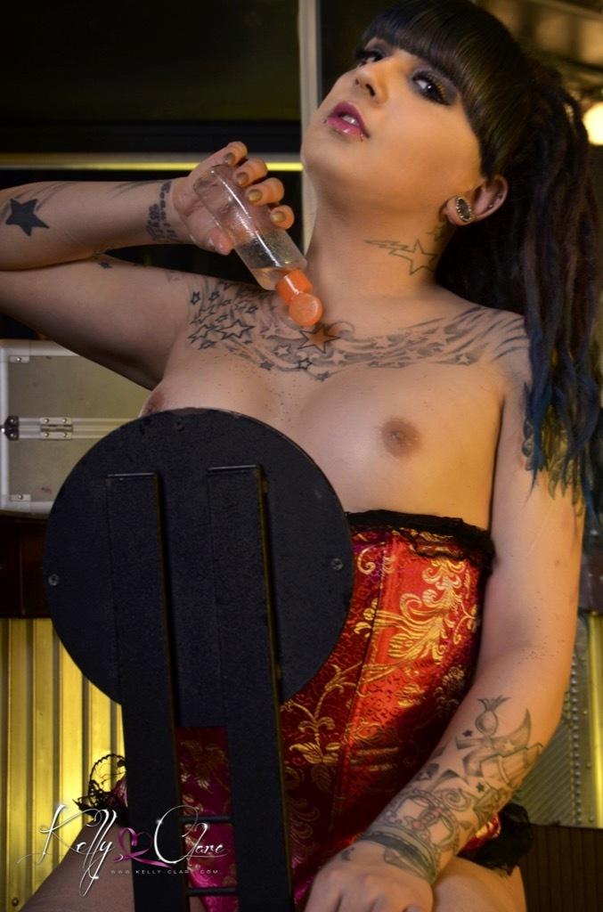 Kelly Clare Pleasures Her Throbbing Penis On A Fleshlite Unti