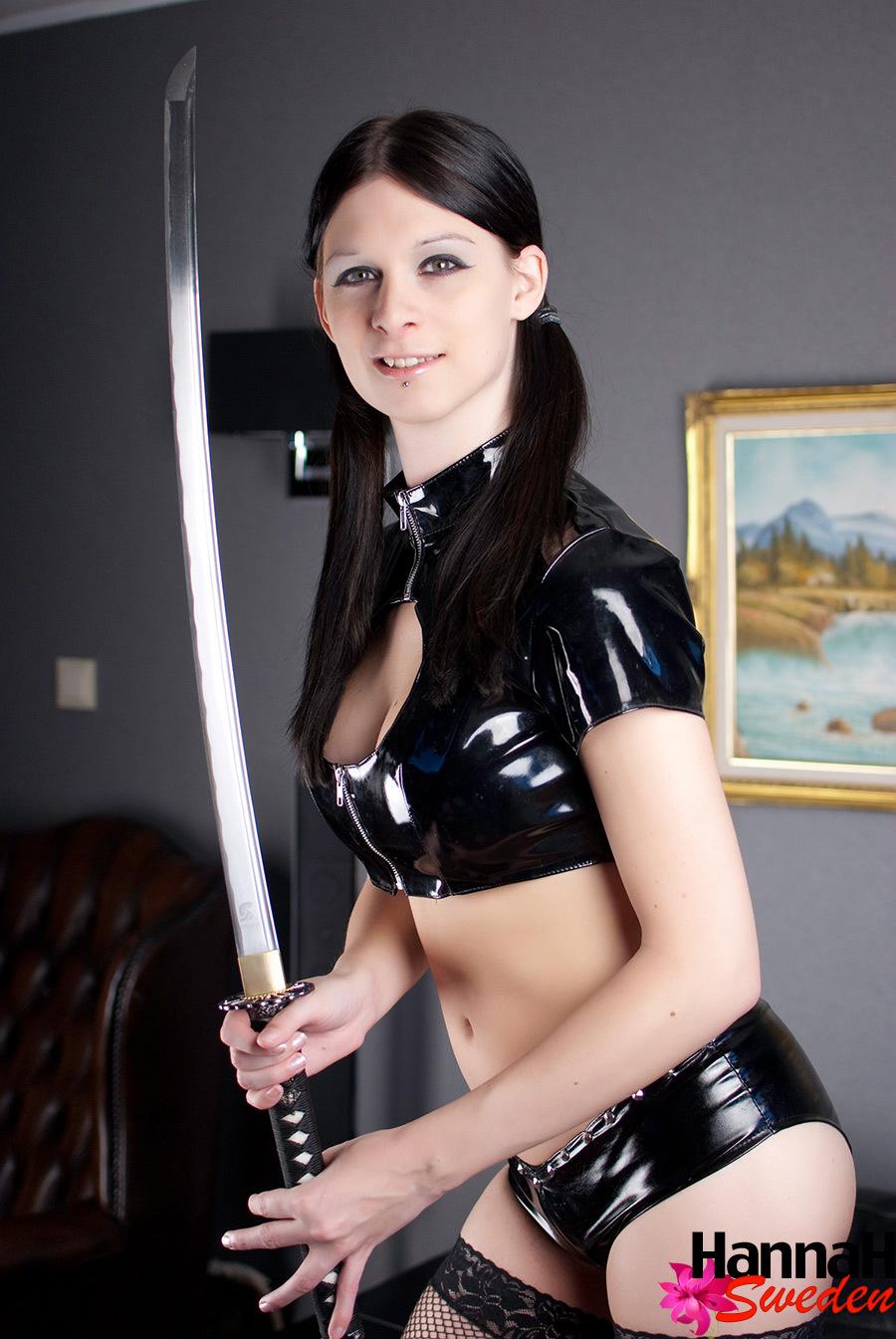 Kinky Tgirl Armed With A Long Dangerous Katana