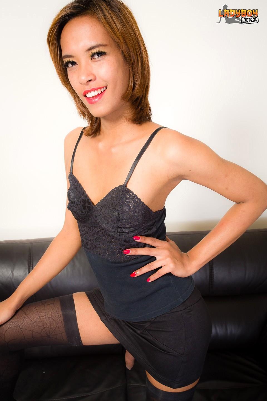 Leila Is A Dark Skinned T-Girl From Bangkok. She Has A Bit