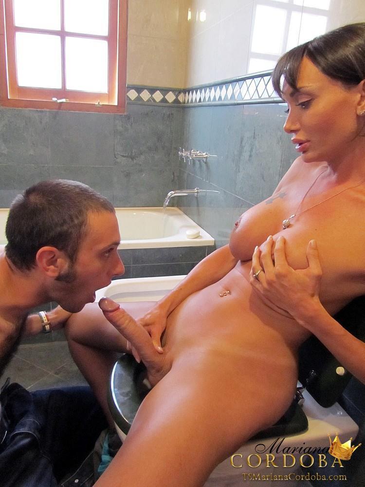 Mariana Cordoba Gets Her Massive Dick Sucked Off In Bathroom
