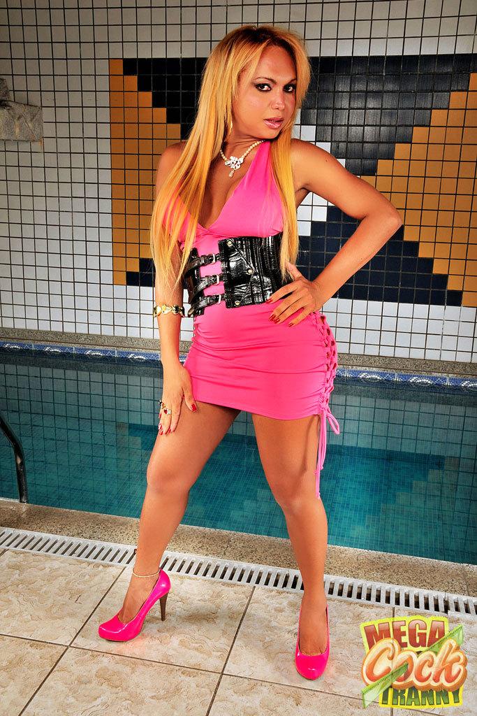 Mega Penis Blonde Ladyboy Poses By The Pool
