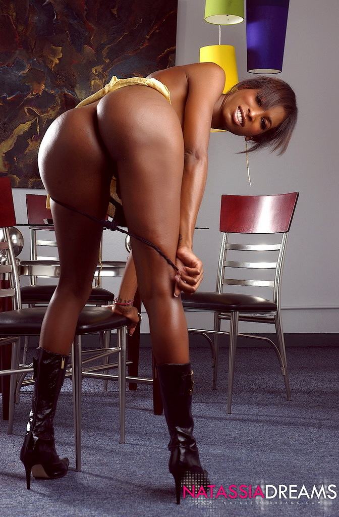 Naughty Ebony Femboy Natassia Fantasies In Beautiful Yellow Skirt