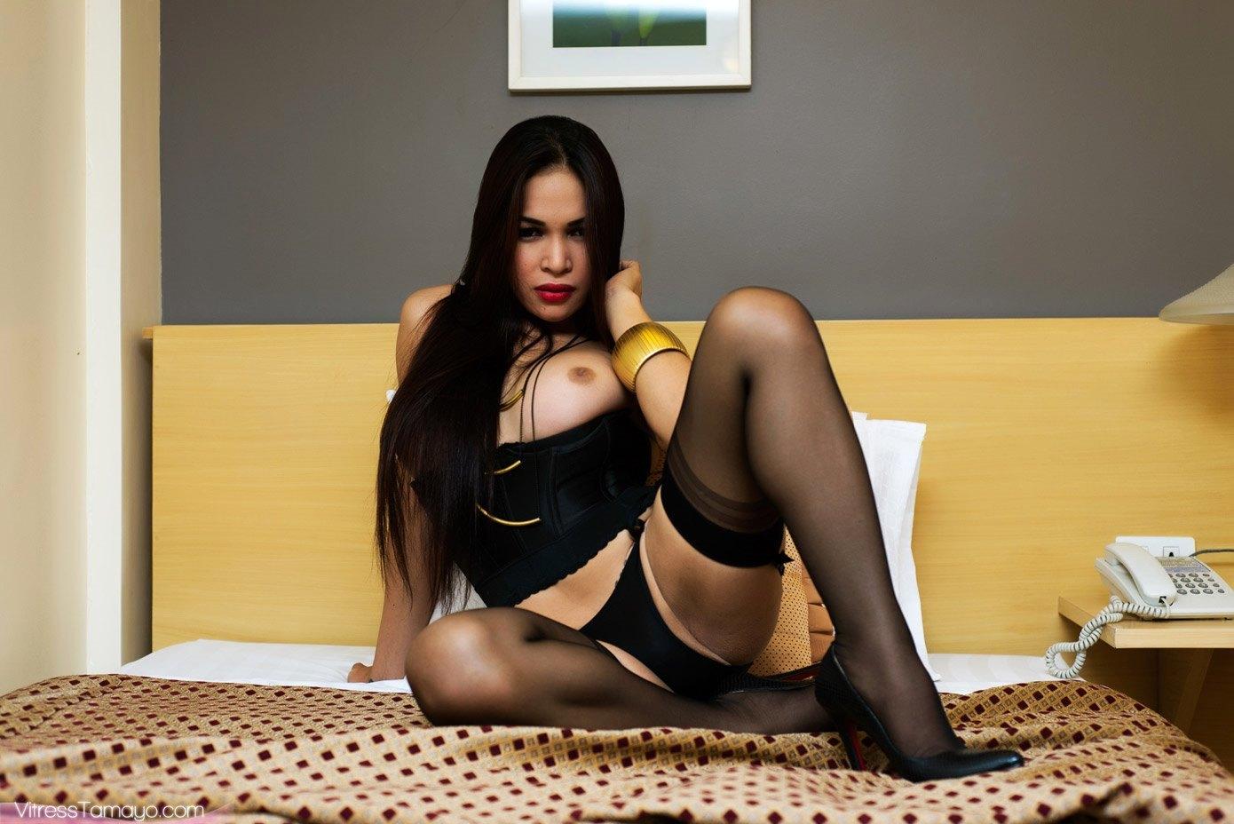 Busty Oriental TS In Beautiful Panties Making Herself CUM