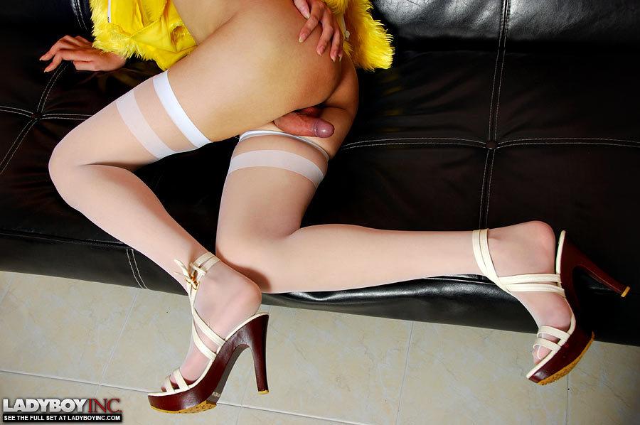 Porn Loving T-Girl Rubs Her Thick Penis