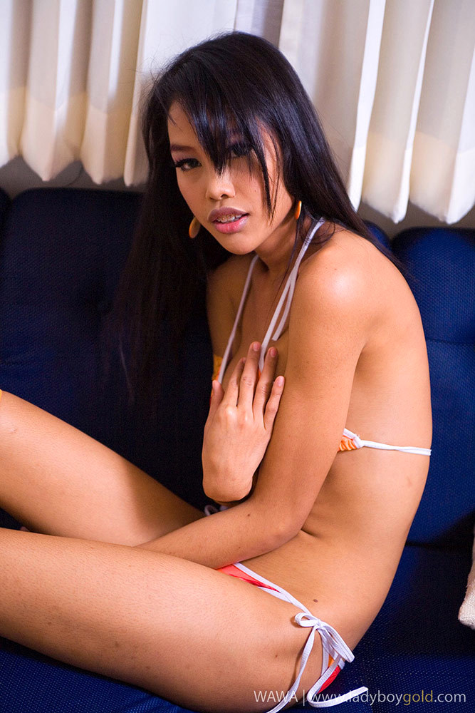 Sensuous Katoey Wawa Shows Us Her Ass-Hole In A Tinie Orange Swimsuit