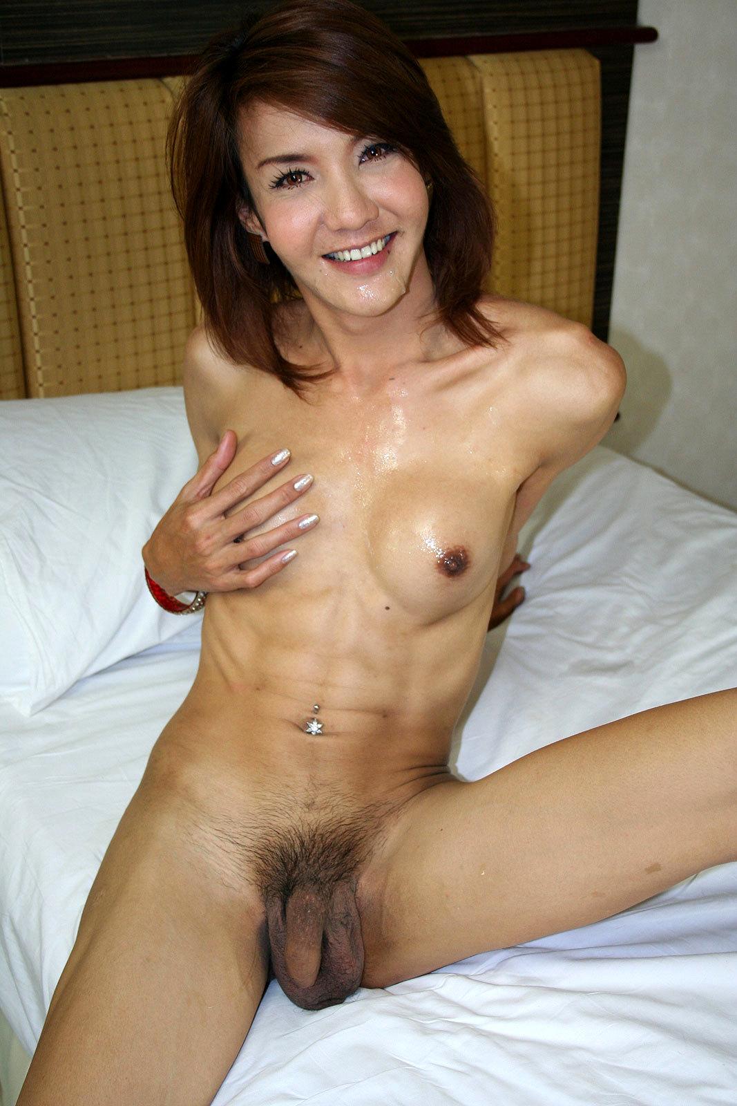 Slim Asian Tgirl Takes Dick No Condom