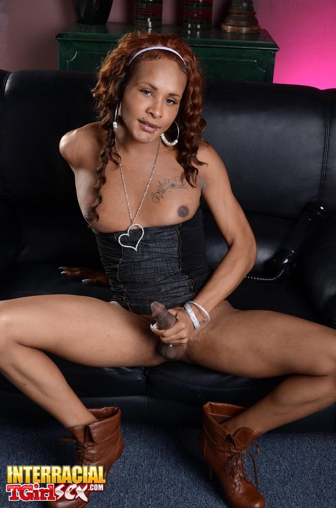 Slutty Ebony TS Chyna Playing With A Dick Fill