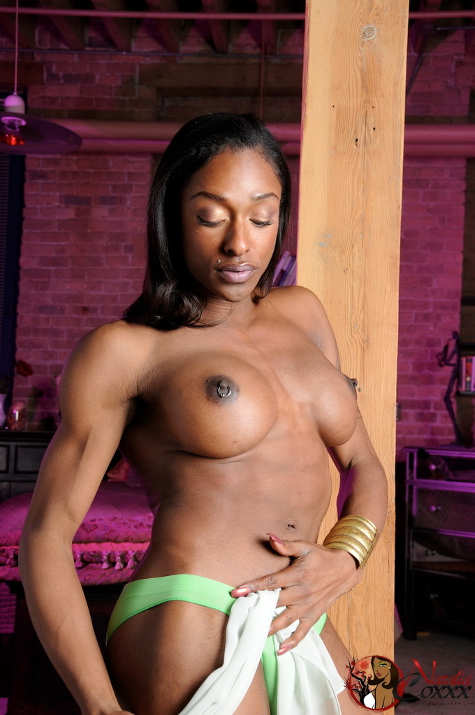 Super Sensual Ebony Transsexual Natalia Coxxx Posing
