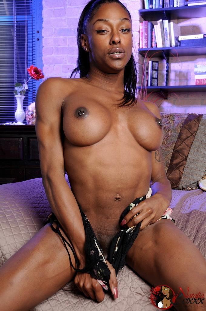 TGirl Natalia Coxxx Exposing Her Black Amazing Body