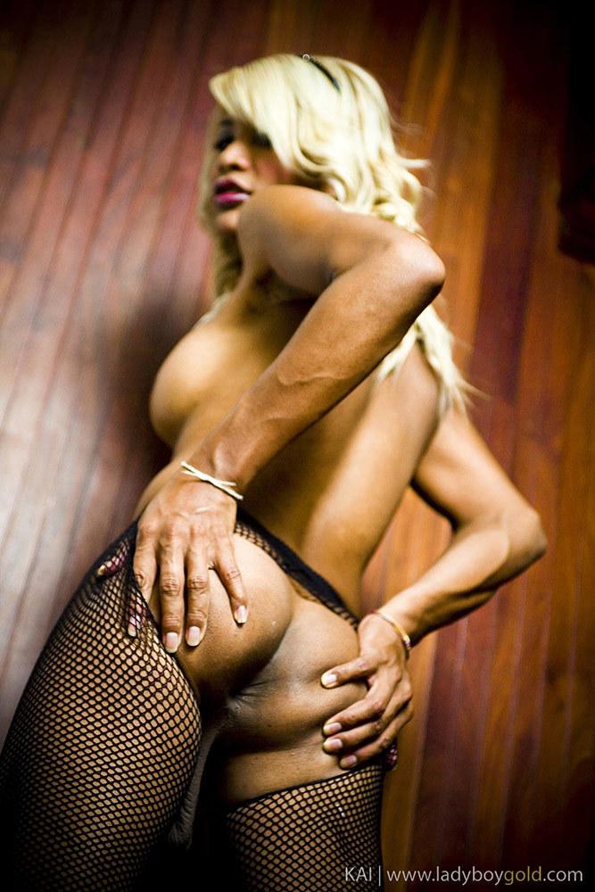 Tranny Kai Exposes Taped Nipples And Big Hanging Balls