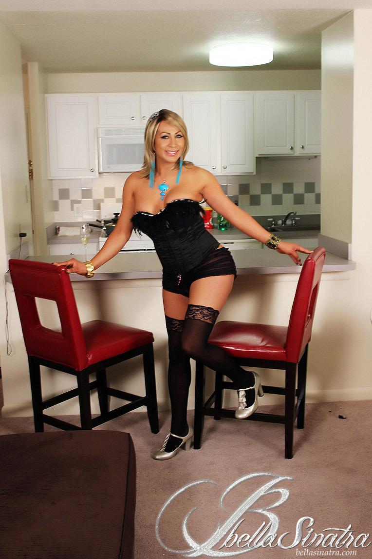 TS Bella Sinatra Posing In Black Panties And Flaunting Her
