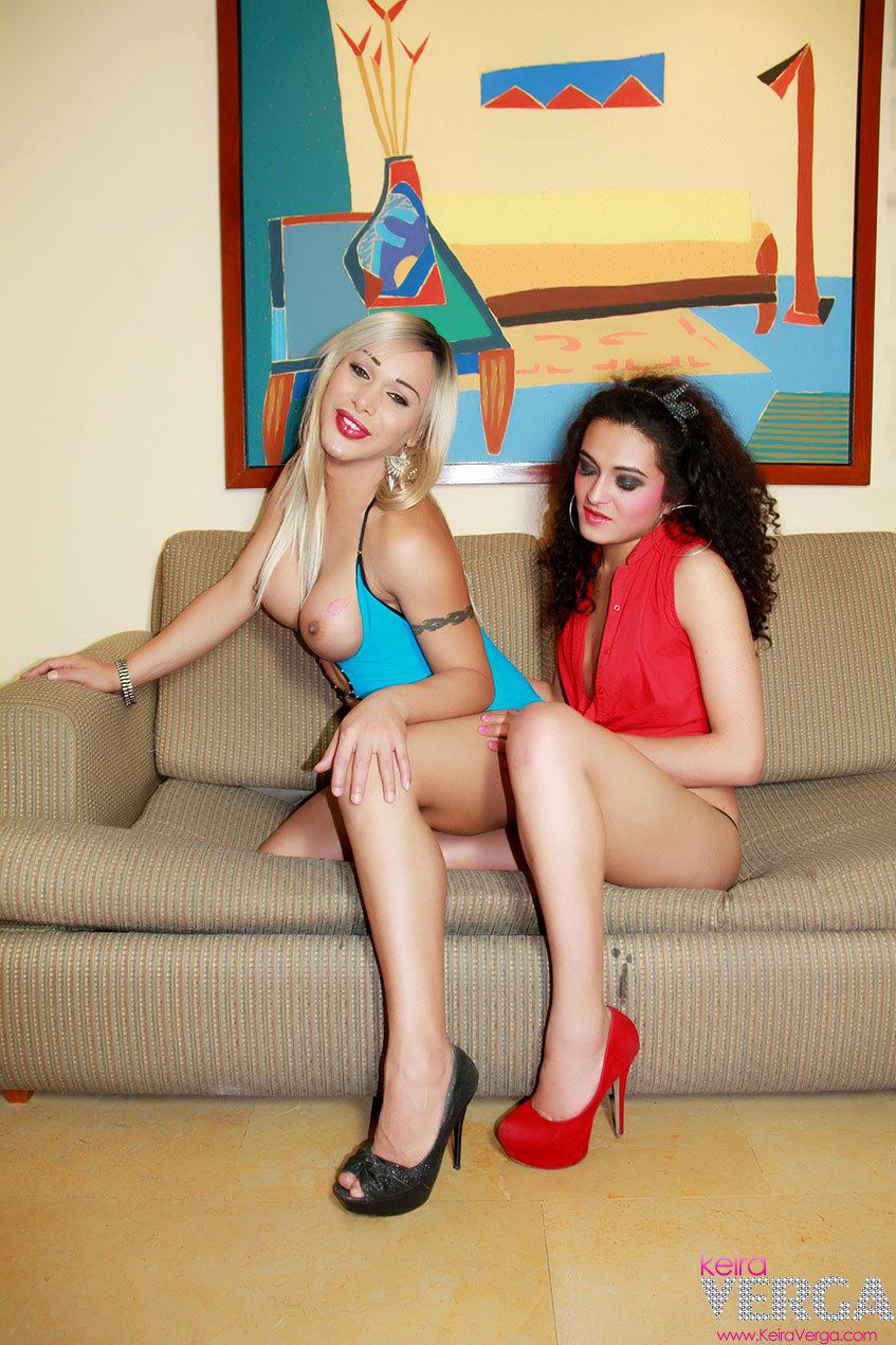 Two Beautiful Tgirls In She Lesbian Sex Action